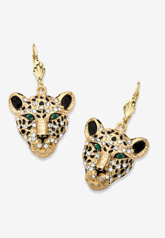 Gold Tone Leopard Face Drop Earrings,