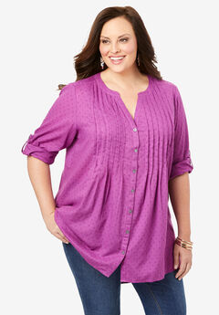 High-Low Pintuck Tunic, PURPLE MAGENTA