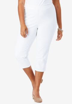 Pull-On Stretch Denim Capri Jean by Denim 24/7®, WHITE DENIM