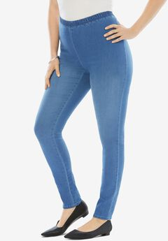 Skinny-Leg Pull-On Stretch Jean by Denim 24/7®, LIGHT STONEWASH SANDED