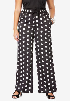 Satin Wide-Leg Pant, BLACK WHITE DOT
