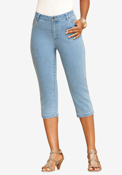 Denim Capri with Invisible Stretch®, LIGHT STONEWASH