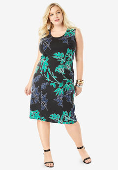 Ultimate Ponte Sheath Dress with V-Neck, GREEN MULTI FLORAL