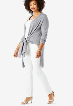 Convertible Tie-Front Cardigan, HEATHER GREY