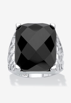 Sterling Silver Natural Black Onyx Checkerboard Cut Ring,