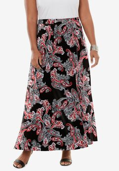 Ultra Smooth Maxi Skirt, BLACK TOSSED PAISLEY