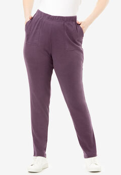 Ankle-Length Soft Knit Pant, EGGPLANT
