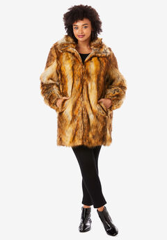Short Faux-Fur Coat, NATURAL