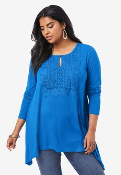 Lace-Front Soft Knit Tunic,