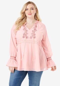 Beaded Peasant Tunic with Tassel Ties, SOFT BLUSH