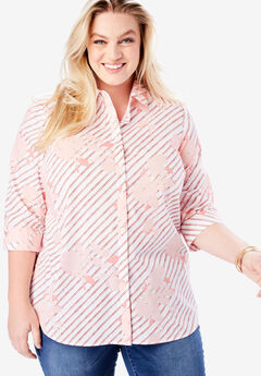 Three-Quarter Sleeve Kate Shirt, CORAL FLORAL STRIPE