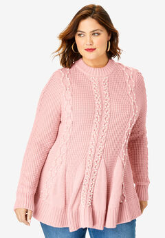 Fit-and-Flare Sweater, SOFT BLUSH