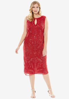 Beaded Sheath Dress by Pisarro Nights, CLASSIC RED, hi-res