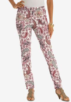 Skinny Jean with Invisible Stretch® by Denim 24/7®, WHITE PAISLEY FLOWERS