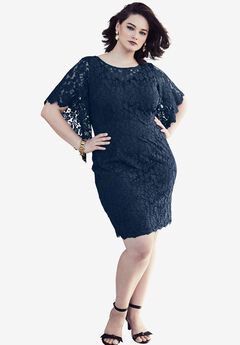 Lace Sleeve Sheath Dress, NAVY, hi-res