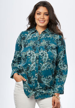 The Kate Shirt, TEAL COLORBLOCK PAISLEY