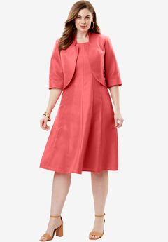 Fit-And-Flare Jacket Dress, SUNSET CORAL, hi-res