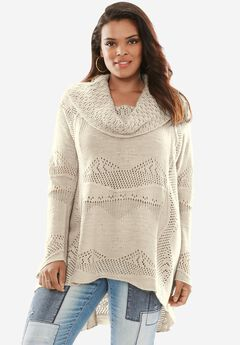Pointelle Trapeze Sweater, SOFT BEIGE, hi-res