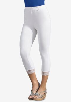 Essential Stretch Lace-Trim Capri Legging, WHITE