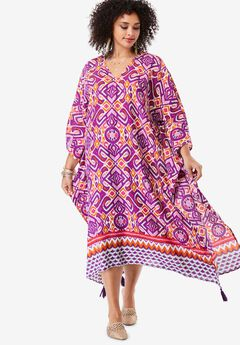 V-Neck Caftan Dress with Tassels,