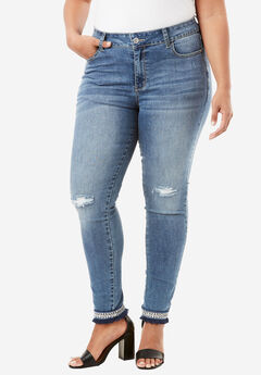 Embellished Hem Skinny Jean By Denim 24/7®, MEDIUM WASH, hi-res