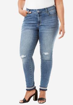 Embellished Hem Skinny Jean By Denim 24/7®, MEDIUM WASH, hi-res