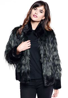 Feathered Faux-Fox Coat by Donna Salyers Fabulous-Furs, GREEN FOX, hi-res