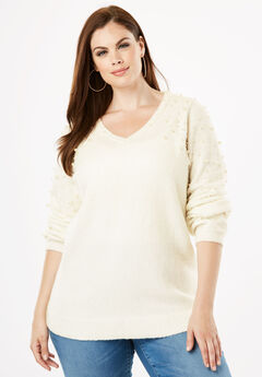 Embellished Pullover Sweater with Blouson Sleeves, IVORY