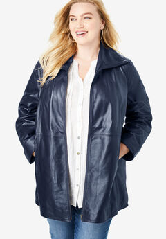 A-Line Leather Jacket, NAVY