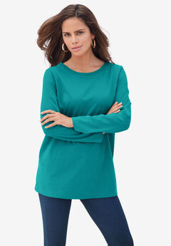 Long-Sleeve Crewneck Ultimate Tee, GEMSTONE GREEN
