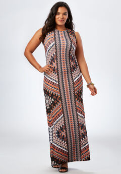 Maxi Dress by Denim 24/7, ORANGE MULTI TRIBAL, hi-res