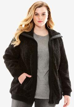 Textured Fleece Bomber Coat, BLACK