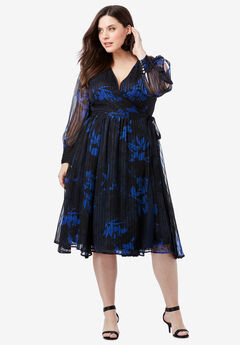 Burnout Wrap Dress with Blouson Sleeves,