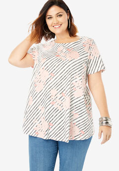Trapeze Ultimate Tee with Keyhole Back, MULTI FLORAL STRIPE