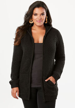 Tweed Thermal Hoodie Cardigan,