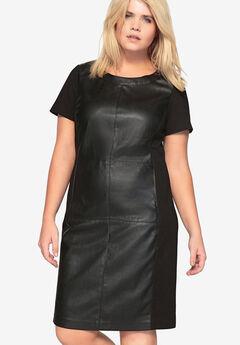 Faux Leather Ponte Dress by Castaluna,