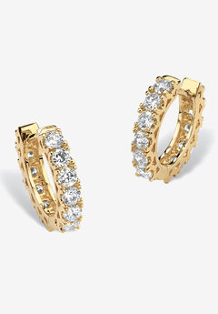 Yellow Gold-Plated Huggie Hoop Earrings,