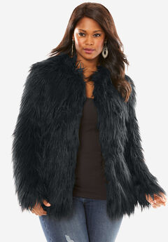 Faux Fur Jacket, BLACK, hi-res