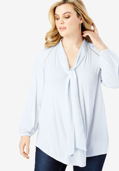 Bow-Tie Blouse with V-Neck,