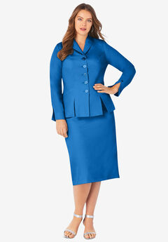 Two-Piece Skirt Suit with Shawl-Collar Jacket, VIVID BLUE