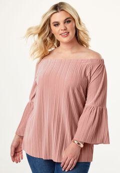 Pleated Velour Top,