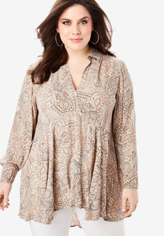 Fit-and-Flare Crinkle Tunic with High-Low Hem,