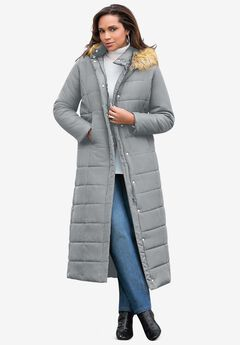 Maxi-Length Puffer Jacket with Hood, GUNMETAL