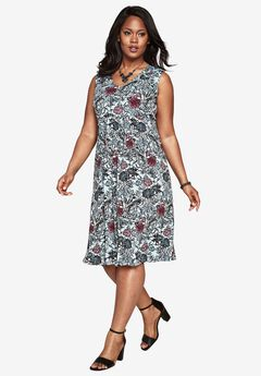 Fit-and-Flare Dress, BLUE LAKE PRINT, hi-res