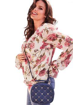 Embellished Denim Crossbody Bag,