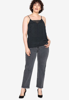 Lace-Trim Camisole Castaluna by La Redoute, BLACK WHITE DOT