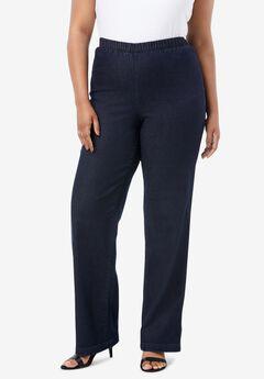 Wide-Leg Pull-On Stretch Jean by Denim 24/7®, INDIGO WASH