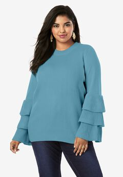 Tiered-Sleeve Sweater, FROST TEAL