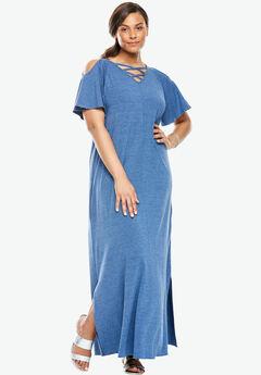 A-Line Cold Shoulder Dress, ROYAL NAVY, hi-res
