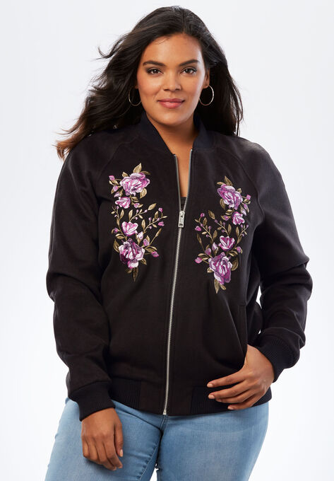 26b0f56a54a Embroidered Bomber Jacket